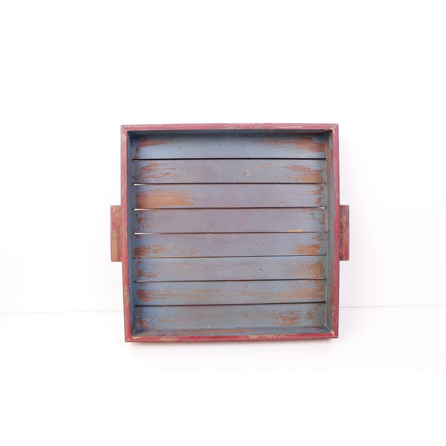 Antique Red & Blue Rustic Wooden Square Tray - Image 2 of 5