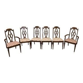 Lenoir Broyhill Vintage Pecan Chairs - Set of 6