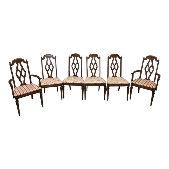 Lenoir Broyhill Vintage Pecan Chairs - Set of 6 - Image 1 of 11