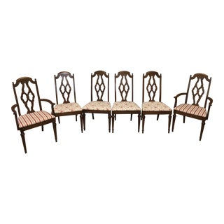Lenoir Broyhill Vintage Pecan Chairs - Set of 6