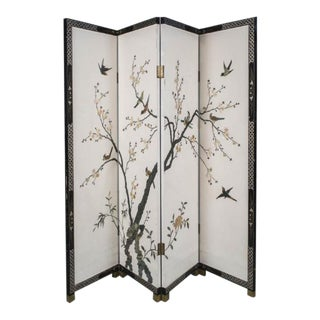 Stone & Mother of Pearl Inlay Chinese Screen