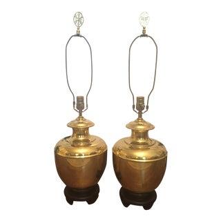 Mid Century Hollywood Regency Brass Ginger Jar Lamps- a Pair