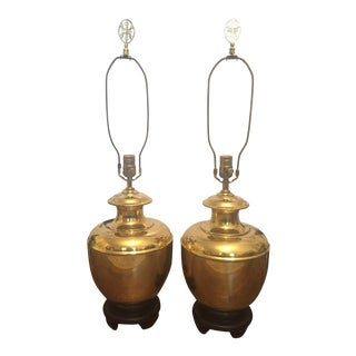 Vintage Asian Chinoiserie Brass Ginger Jar Lamps- a Pair