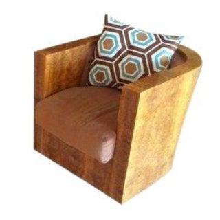 Burl Wood Normandy Deco Swivel Tub Chair