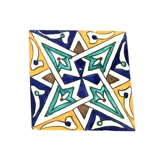 Hand Painted Moroccan Large Decorative Cement Tile - Image 1 of 2