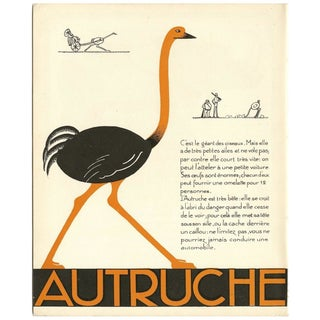 1930s French Art Deco Ostrich Print