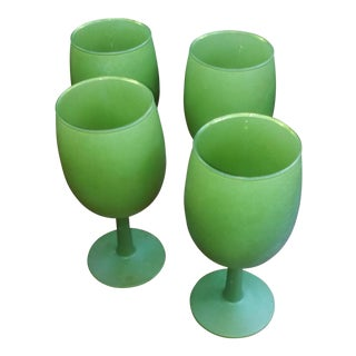 Green Frosted Goblets - Set of 4
