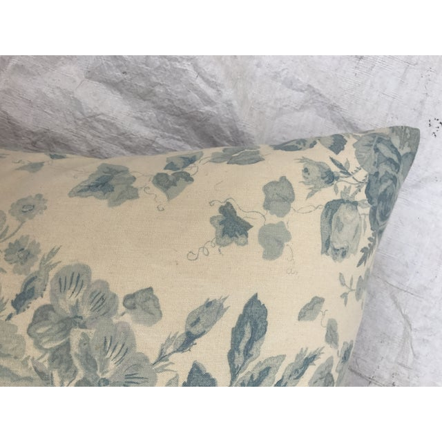 Ralph Lauren Blue & White Rose Patterned Pillow - Image 6 of 8