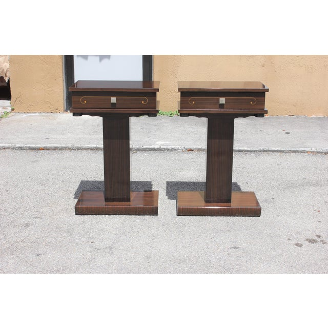 French Art Deco Macassar Ebony Nightstands - A Pair - Image 6 of 10