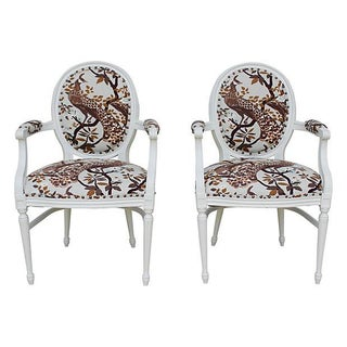 Vintage White Peacock Chairs - A Pair