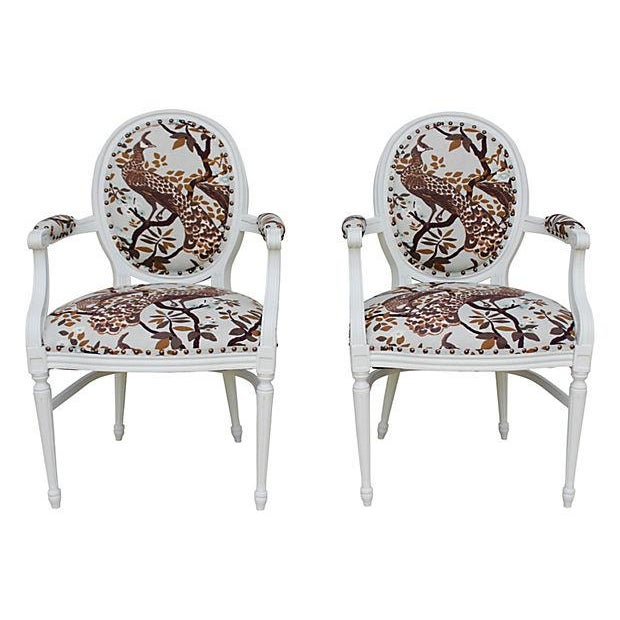 Image of Vintage White Peacock Chairs - A Pair