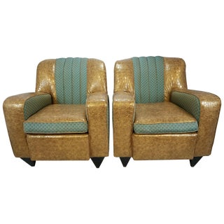 Faux Alligator Deco-Style Chairs - A Pair