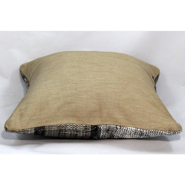 Turkish Handmade Gray Kilim Pillow - Image 4 of 5