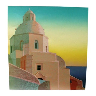 Greek Island Scene Lithograph