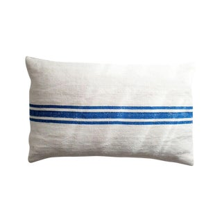 French Blue Striped Accent Pillow
