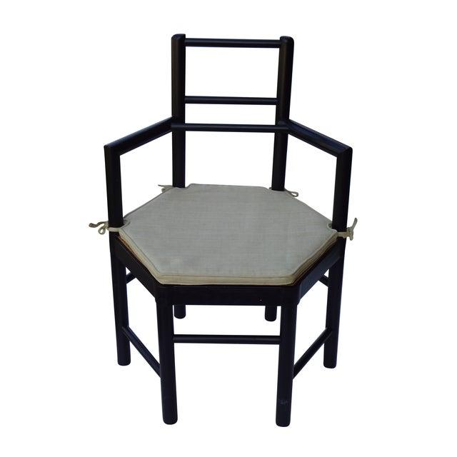 Josef Hoffmann Style Hexagonal Chair & Ottoman Set - Image 9 of 10