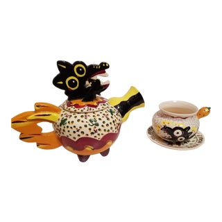 "Hand Made and Painted ""Perro Negro"" Tea Pot With Matching Cup and Saucer - A Pair"