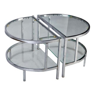 Mid Century Demilune Chrome & Glass Side Tables - Pair