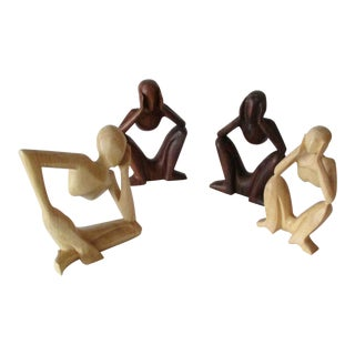 Abstract Modernist Yoga Carved Wooden Figures - Set of 4