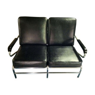 Art Deco Chrome & Black Lounge Seat