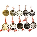 Image of Vintage Brass Chinoiserie Ornaments - Set of 11