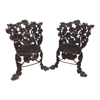 Cast Iron Small Garden Chairs - A Pair