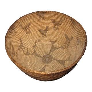 Circa 1900 Antique Pictorial Native American Apache Pima Basket