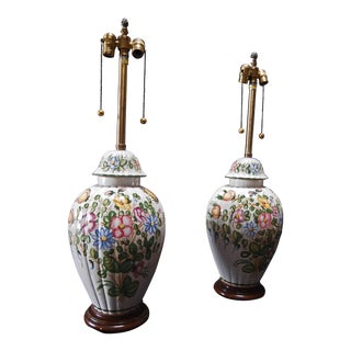 Marbro Floral Decorated Lamps- A Pair