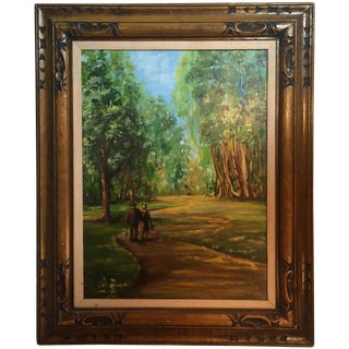 Couple Walking in Park Original Oil Painting