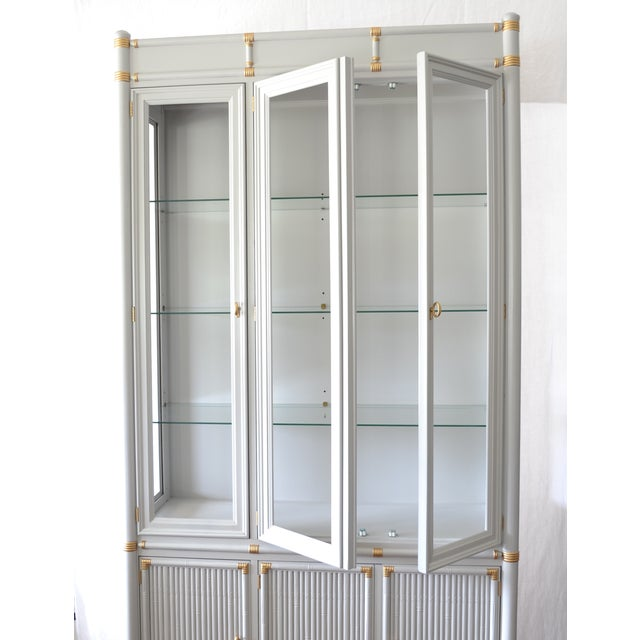 Gray Faux Bamboo Drexel Cabinet W/Gold Accents - Image 4 of 8