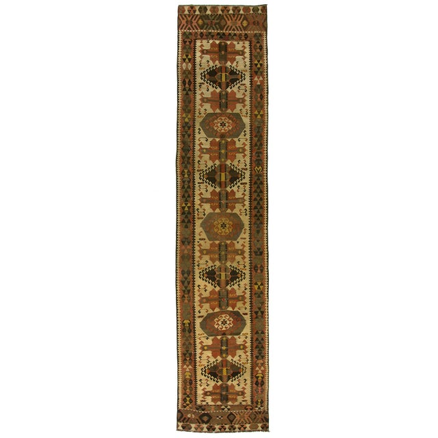 Vintage Turkish Kilim Kars Runner - 2'8 X 13'9 - Image 1 of 3