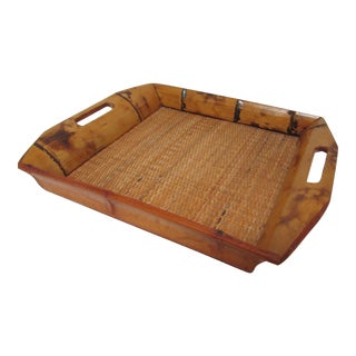 Vintage Wicker Rattan and Wood Serving Tray