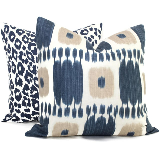 Schumacher Kandira Blue Tan Ikat Pillow Cover - Image 3 of 4