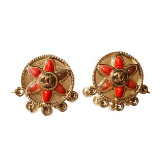 Chanel Tribal Round Red Stones CC Pearl Earrings
