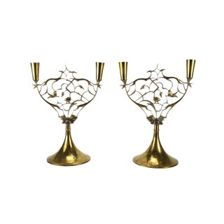 Pair of Brass Animal and Grapevine Candlesticks by Karl Hagenauer