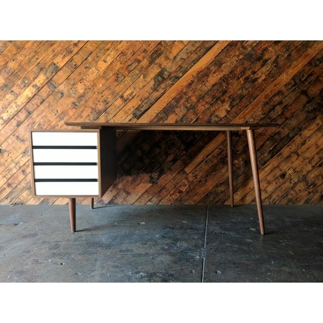 Custom Large Mid Century Style Walnut Desk - Image 2 of 11