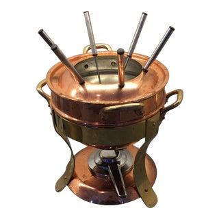 Mauviel Copper and Bronze Fondue Pot & Stand