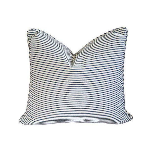 French Blue & White Ticking Pillows - A Pair - Image 2 of 7