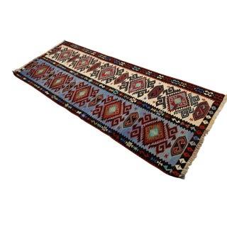 Turkish Kilim Hand Woven Wool Runner - 2′10″ × 7′6″