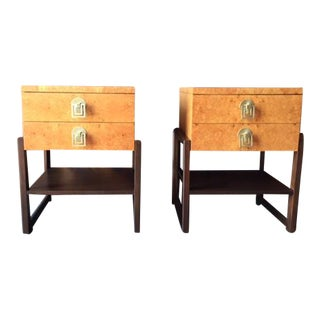 Mid Century Renzo Rituli Refinished Burl & Mahogany Nightstands Side Tables