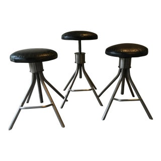Adjustable Distressed Leather Stools - Set of 3