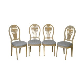 Custom French Louis XVI Style White Wash Dining Chairs by Ressa - Set of 4