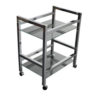 Mid-Century Modern Chrome Bar Cart / Tea Cart