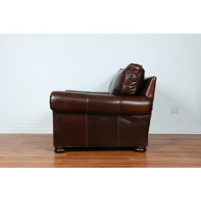 Brown Leather Chair With Ottoman - Image 9 of 11