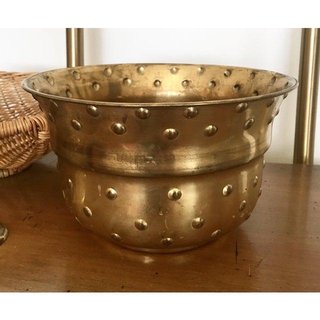 Vintage Hobnail Brass Planter - Image 2 of 6
