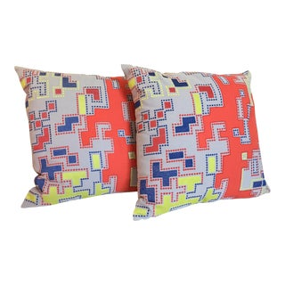 Pair of Modern Embroidered Geometric Pillows