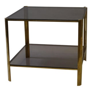 Artist Broncz Brass & Smoked Glass Square Table