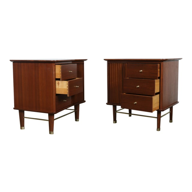 Image of Refinished Walnut Side Tables Nightstands - A Pair