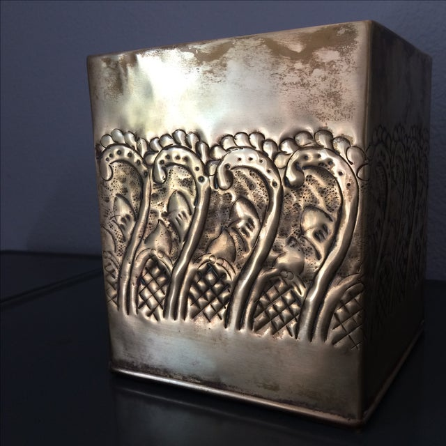 Image of Vintage Brass Tissue Box Cover