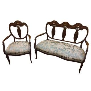 Antique Mahogany & Mother of Pearl Inlay Parlor Set